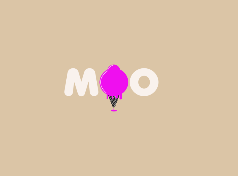 Moo Ice-cream vector flat typography icon illustration app designmatters minimaldesign aesthetics branding