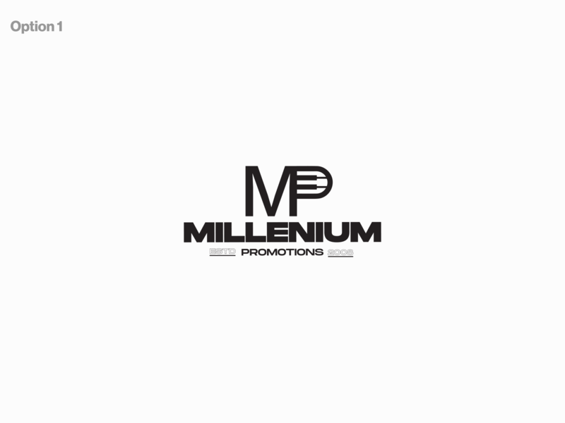 Millenium promotions minimal logo flat geometric illustration designmatters logodesign aesthetics minimaldesign branding