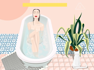 Illustration Woman in Tub