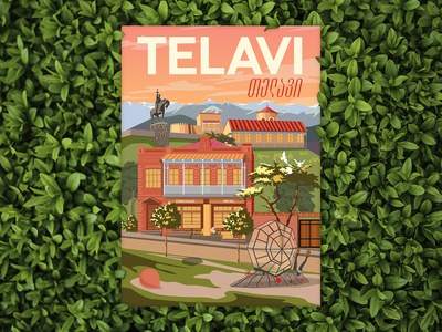 Postcard illustration Telavi, Georgia
