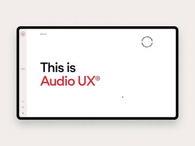 Audio UX website design sound website uiux webdesign