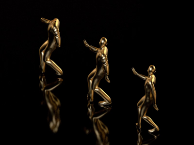 Dancing fools (turn up volume) gold 3d animation render c4d 3d moxy design motion animation