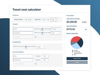 Travel cost splitter calculator dashboard travel adobe xd ux design dashboard ui dashboard calculator