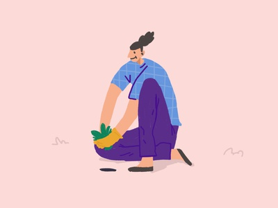 Summer procreate plant girl illustration design