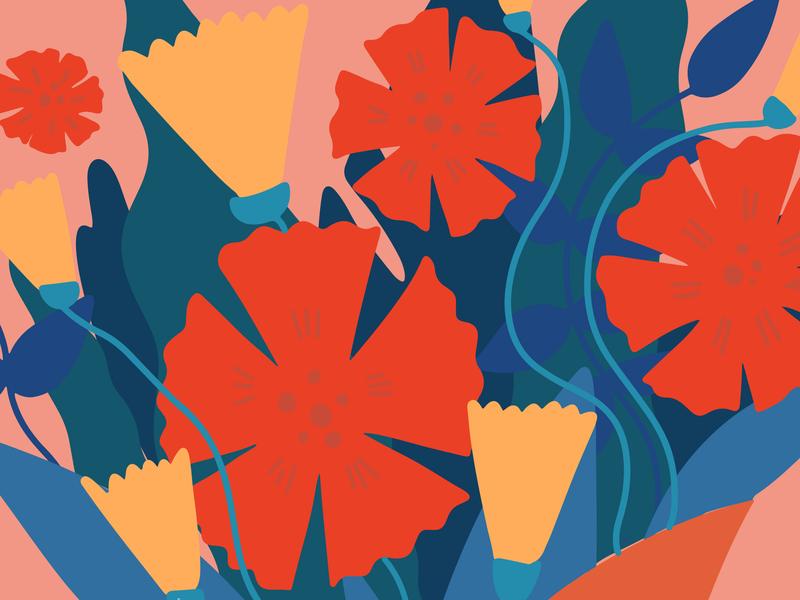 Valentine's Day Postcard typography plant vector illustration procreate design