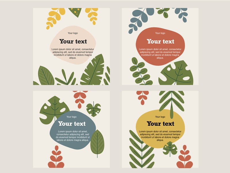 Botanical text flat color vector template flower app green abstract plant vector illustration design