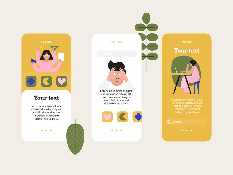 Illustration for app logo web design web typography app ui green girl abstract vector illustration design