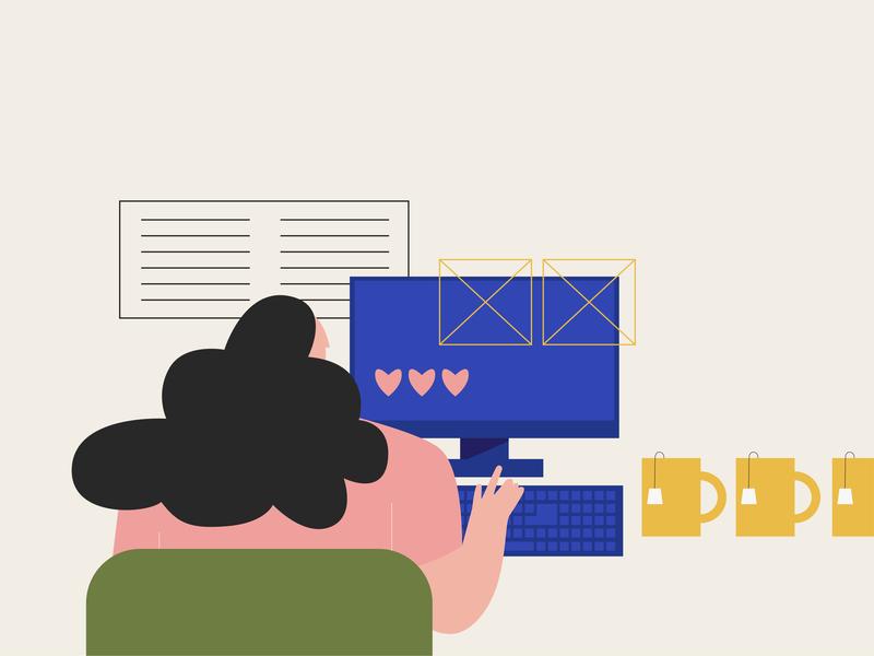 Work process graphic art work girl vector illustration design