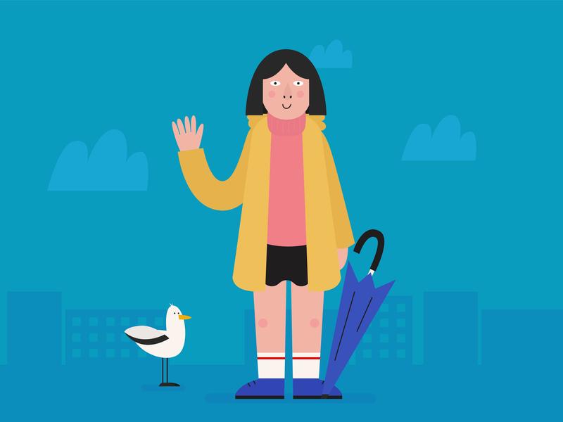 Girl in Saint Petersburg artwork weather bird vector rain girl illustration design