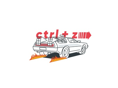 Sticker illustration Delorian car delorean vector illustration design