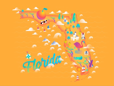 Florida Illustration vector illustrator illustrations florida state the usa maps map florida illustrator illustraion illustration design vector ui illustration art colorful color illustration design