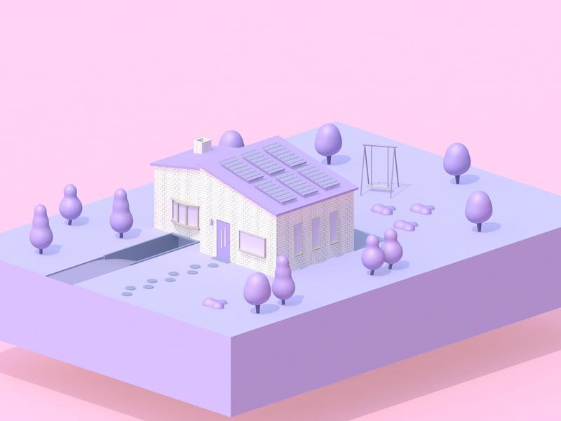 House pink purple backyard c4dart 3d art house c4d 3d
