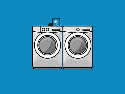 Washer Dryer Combo on the Physical Web beacon beacons bkon illustration dryer washer blue physical web