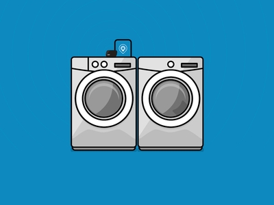 Washer Dryer Combo on the Physical Web beacon beacons bkon illustration dryer washer blue physical web