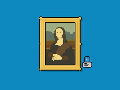 Mona Lisa - Physical Web Museum Use Case smile louvre mona lisa art physical web blue illustration bkon beacons beacon phyid bluetooth