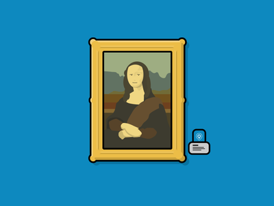 Mona Lisa - Physical Web Museum Use Case smile louvre mona lisa art physical web blue illustration bkon beacons beacon phyid bluetooth