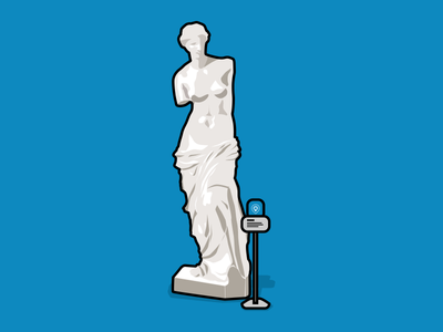 Venus De Milo - Physical Web Museum Use Case sculpture louvre venus de milo art physical web blue illustration bkon beacons beacon phyid bluetooth