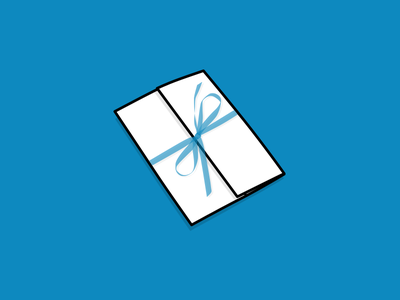 Invitation line illustration folded fold paper blue ribbon thank you thanks envelope invite invitation