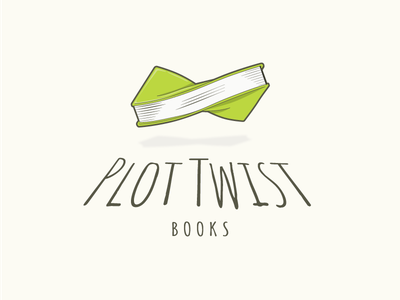 Plot Twist Books Logo line drawing illustration reading plot green book