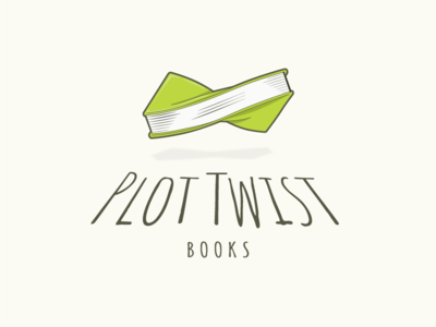 Plot Twist Books Logo line drawing illustration reading plot green book