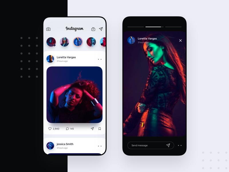 Instagram Redesign UI Concept interface colors app concept mobiledesign webapp app cool interaction iphone ios instagram redesign concept uiux ux ui