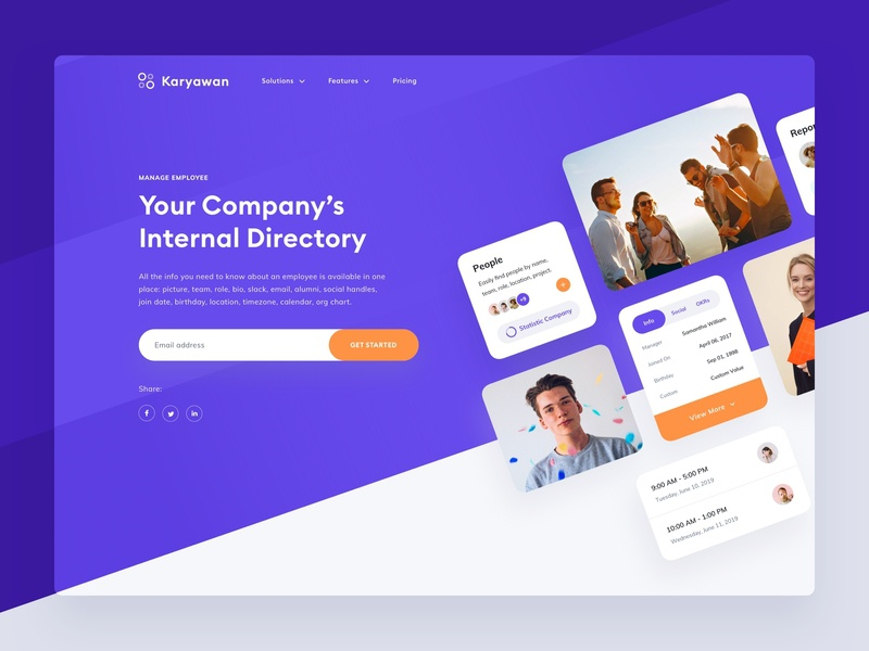 Company Directory Homepage by Stan Vision on Dribbble