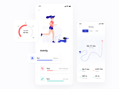 Running app location tracker location pin map light ui doing sport time run gym sport tracking time sport app running man running app design illustration minimalistic mobile app ux ios ui