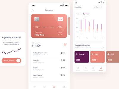 Online Banking - Mobile App Concept popup successful chart ux ui payment app pay online banking mobile app minimalistic finance app finance expense tracker expenses card design clean ui category card analytics