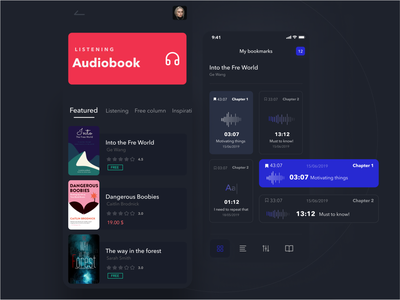 Audiobook Mobile App ux ui audioplayer reading listening clean ui ux mobile ui mobile app design dark ui clean ui design bookmarks minimalistic audio player mobile app ui  ux audio app audiobook books