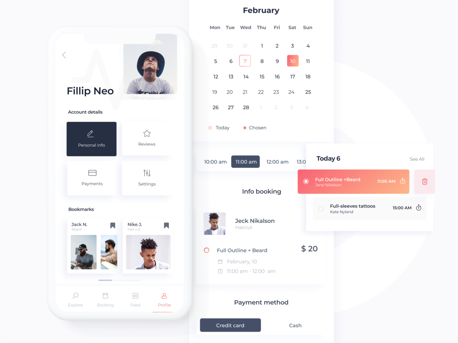 Booking App .The concept with booking feature for LookTone account profile time appointment mobile app design clean ui mobile app minimalism light ui ios cards payment app bookmarks user profile time calendar ux ui app design booking system booking appointment
