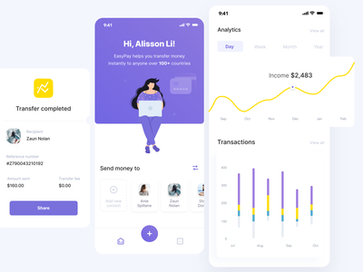 EasyPay - Virtual currency wallet - Mobile app popup graphs chart transactions card design payment card transfer completed banking app wallet app currency mobile ui illustration design mobile app design clean ui minimalistic ios mobile app ux ui