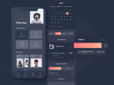 Booking App. The concept with booking feature payment appointment notifications calendar ui dark ui ios personal profile booking system ui ux mobile app