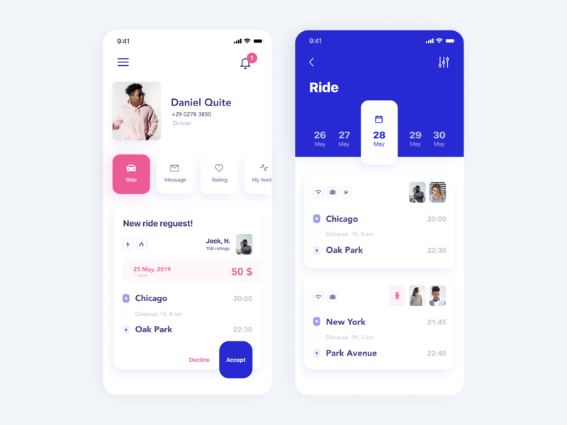 Ride App. Online search service for car travel companions ios trip travel ride calendar account notifications personal profile ux ui minimalism clean design mobile uiux mobile ui mobile app design mobile applications