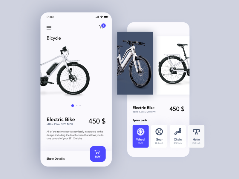 Bicycle store App mobile app eccomerce ux ui clean bike app bicycle store product page minimalistic ios online shop bicycle app bicycle