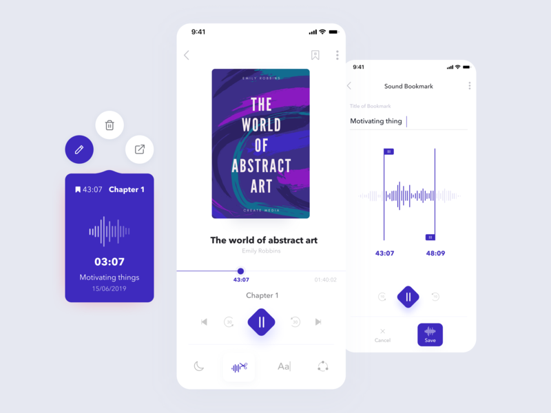 Concept of Audiobook audio player audio app timeline delete share quick edit sound bookmarks player ui book audiobooks design mobile app ui ux ios