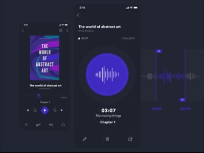 The concept of Audiobook. Dark version