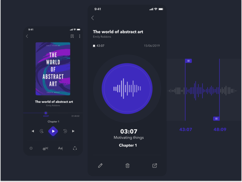 The concept of Audiobook. Dark version dark ui minimalistic ux ui timeline sound share mobile app mobile ui ios design player ui edit delete bookmarks book audiobooks audio player audio app audiobook