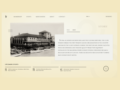 Anniversary of Royal Yacht Club - Landing Page Design design landing page yellow retro typography interface web design web ui