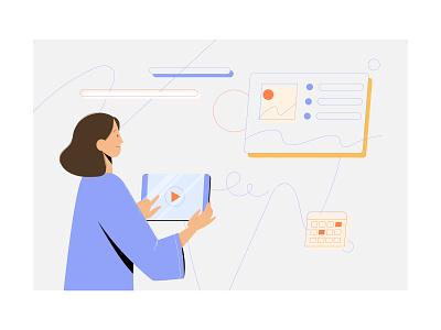 Using gadget for presentation character presentation technology vectorart vector illustrator minimal flat web app icon ui design branding illustration