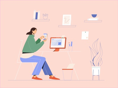 Home Office outline remotework home office app characterdesign vectorart minimal illustrator illustration design character vector