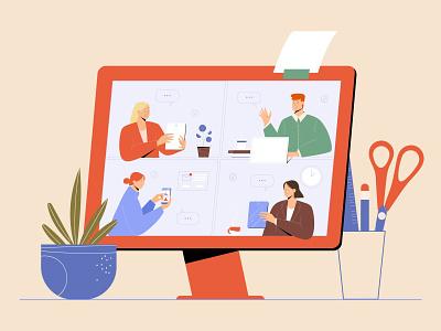 Online Meeting business online display screen home office flat characterdesign app character vectorart minimal illustrator illustration design vector
