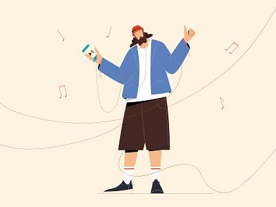 Feel it technology dancing smartphone music app characterdesign character vectorart minimal illustrator illustration design vector