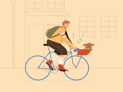 Bike ride with a dog smartphone music bicycle dog technology flat characterdesign character vectorart minimal illustrator illustration design vector