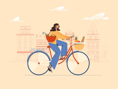 Riding a bike after grocery store characterdesign character vectorart minimal illustrator illustration design vector