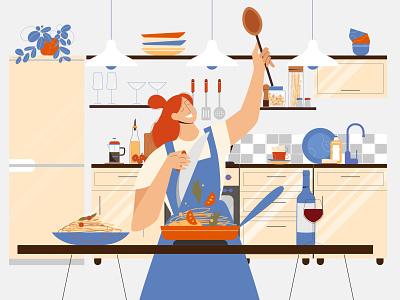 Cooking Pasta cooking kitchen flat characterdesign character vectorart minimal illustrator illustration design vector