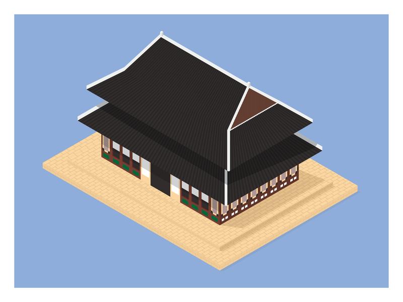 Changdeokgung Palace (창덕궁과) [UNESCO World Heritage Site} design colour korean experiment vector isometric illustration south korea korea seoul