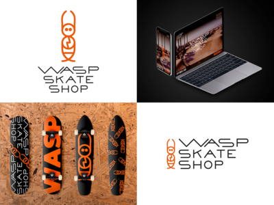 """Wasp skate shop"" logo aplication"