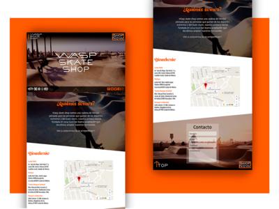 """""""Wasp skate shop"""" web site (desktop)"""