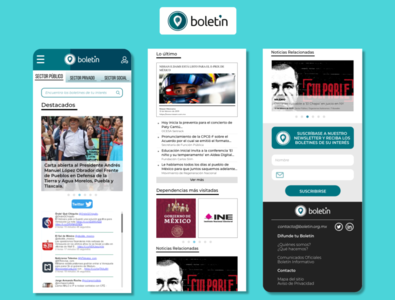 """Boletín.org.mx"" mobile site design"