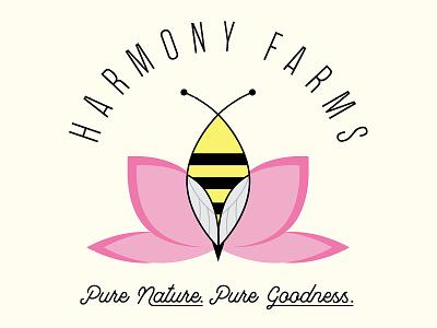 Harmony Farms clean simple design flat pnw brand logo farm honey bee